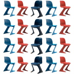 Ernst Moeckl Large Set ofMulticolored Kangaroo Chairs + 50