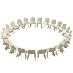 Ernst Moeckl Large Set of Twenty-Four White Kangaroo Chairs, 1968
