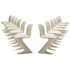 Ernst Moeckl Set of Twelve White Kangaroo Chairs