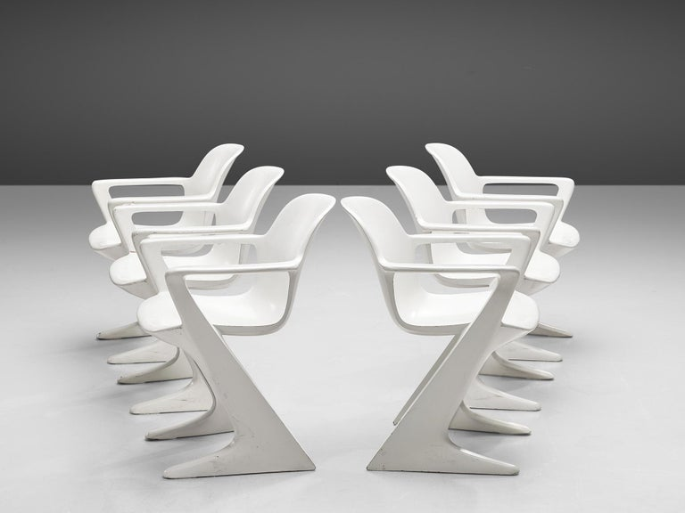 Ernst Moeckl for Trabant, 'Z' armchairs in original finish, fiberglass, Germany, 1968  This set of white Kangaroo chairs is designed by Ernst Moeckl in 1968. The chair is also called the Z-chair, referring to its shape. During the period of the