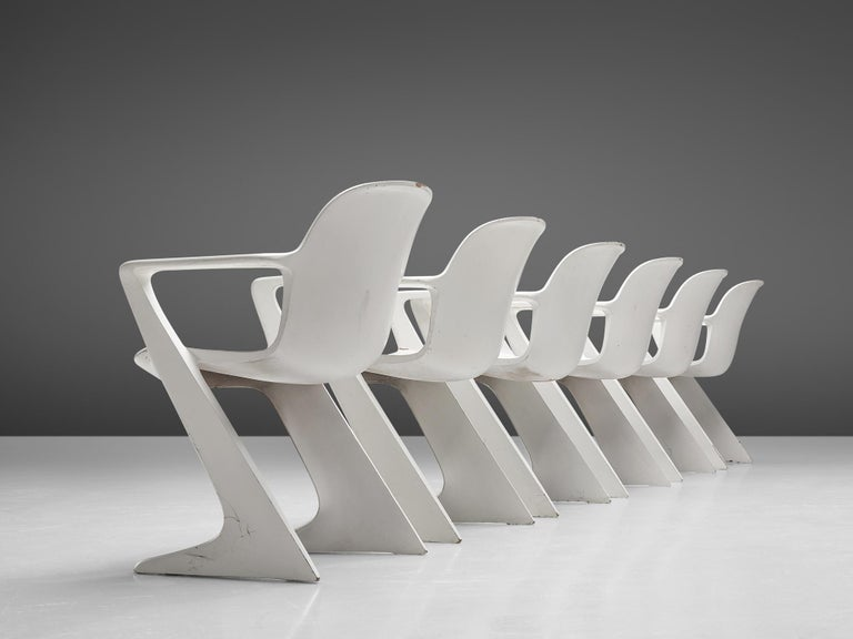 German Ernst Moeckl White Kangaroo Chairs For Sale