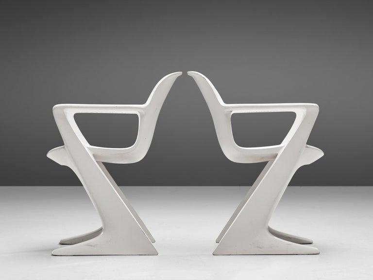 Fiberglass Ernst Moeckl White Kangaroo Chairs For Sale