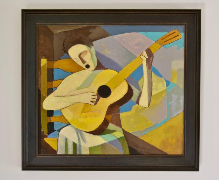'Die singende Lautenspielerin' - Singing Lutenist, undated [circa 1964], Oil on furnishing linen, signed 'EN', titled to stretcher, numbered F41 and with paper label 193 to stretcher Image 23