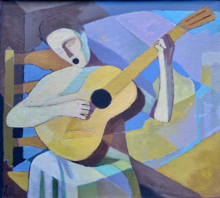 """Ernst Neuschul Figurative Painting - """"die Singende Lautenspielerin"""" Singing Lutenist"""
