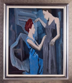 Early 20th Century Czech Expressionist oil painting by Ernest Neuschul, blue