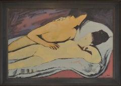 """Erste Beruhrung"" First Stirrings.   20th Century Modern Figurative Oil Painting"
