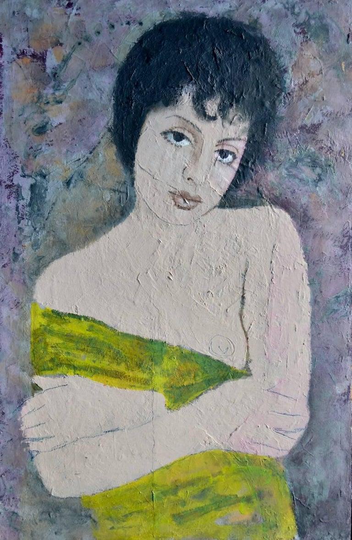 Portrait Of A Girl - Modern, Oil Paint, Portrait Painting by Ernest Neuschul - Brown Figurative Painting by Ernst Neuschul