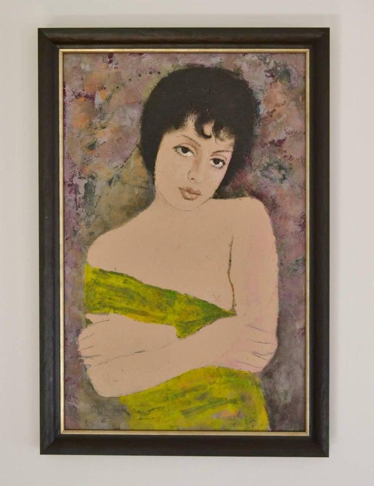 Portrait Of A Girl - Modern, Oil Paint, Portrait Painting by Ernest Neuschul For Sale 1