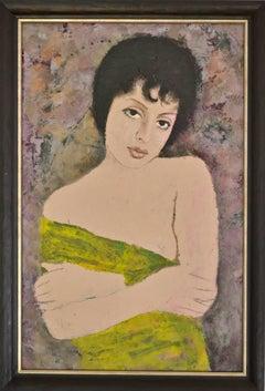 Portrait Of A Girl - Modern, Oil Paint, Portrait Painting by Ernest Neuschul