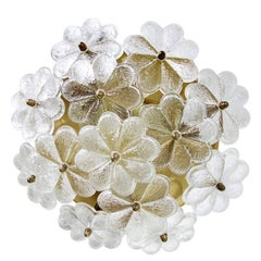 Ernst Palme Floral Glass and Brass Wall Ceiling Light Flush Mount Sconce, 1960s