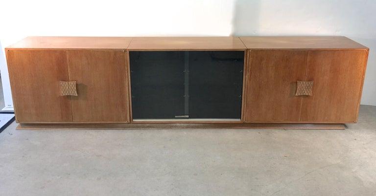 Mid-Century Modern Ernst Schwadron Cerused Triple Cabinet For Sale