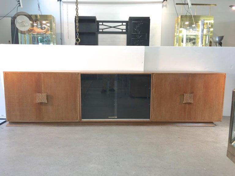 American Ernst Schwadron Cerused Triple Cabinet For Sale
