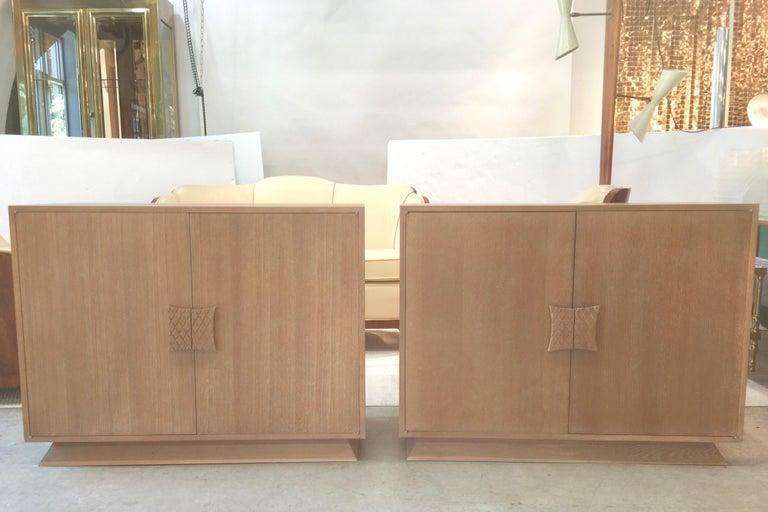 Mid-Century Modern Ernst Schwadron Limed Oak Cabinet For Sale