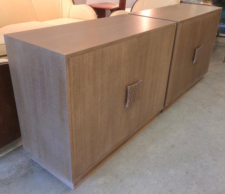 Ernst Schwadron Limed Oak Cabinet In Excellent Condition For Sale In Hingham, MA