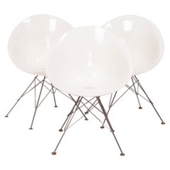 Modern Ero/S White Chairs with chromed steel base by Philippe Starck for Kartell