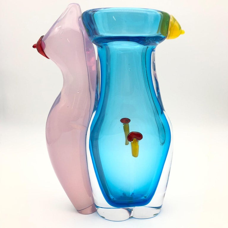 Eros Aquamarine Vase #2 by Toso Cristiano In New Condition For Sale In Milan, IT