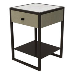 Eros Bedside Table Marblo Surface, Ultraleather and Dark Bronze Powder Coated