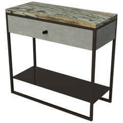 Eros Bedside Table with drawer Marble Surface, Ultraleather, Powder Coated Steel