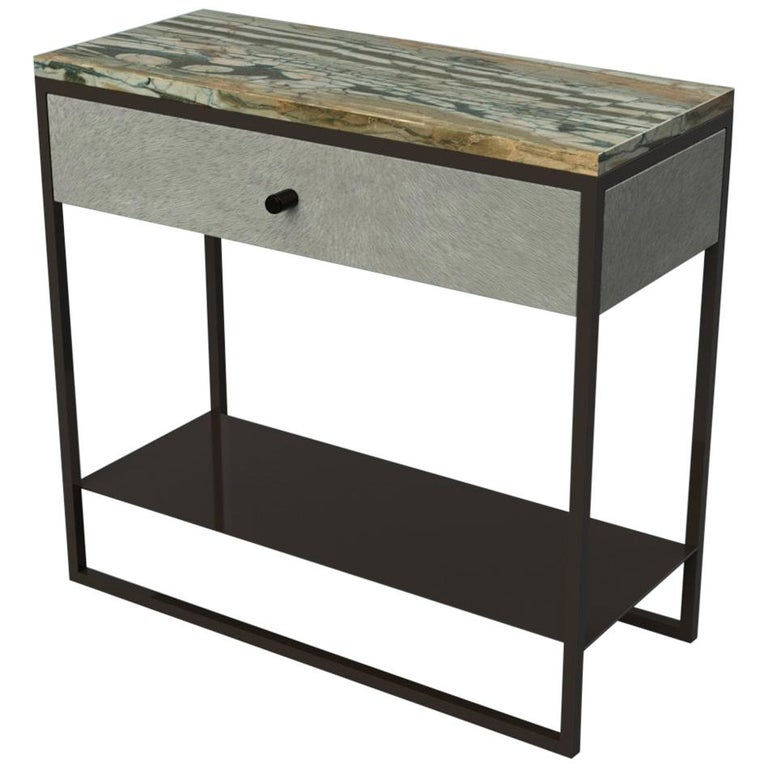 newest collection 81414 a57fe Eros Bedside Table with drawer Marble Surface, Ultraleather, Powder Coated  Steel