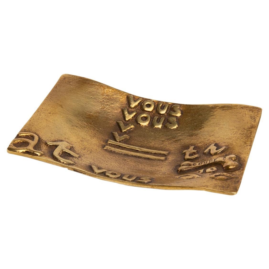 """Eros"", Gilded Bronze Trinket Bowl, Line Vautrin 'France'"