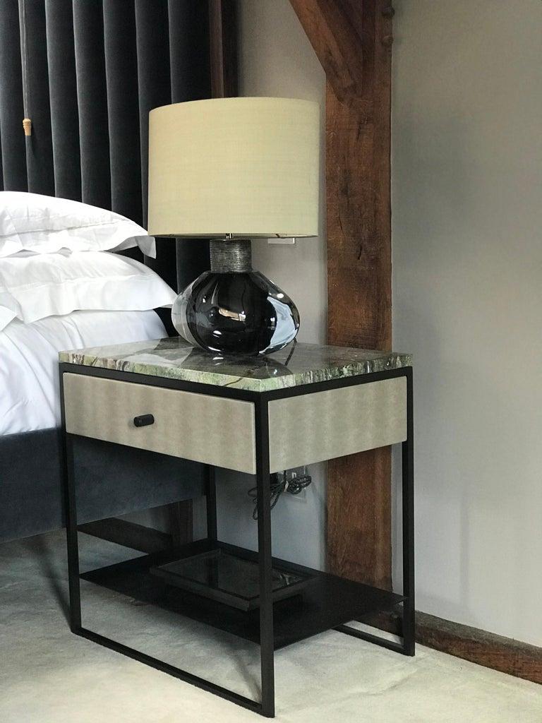 Slim Bedside Tables: Eros Slim Bedside Table Marble Surface, Ultraleather And