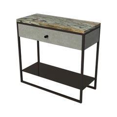 Eros Slim Bedside Table Marble Surface, Ultraleather & Dark Bronze Powder Coated
