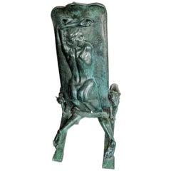 Erotic Bronze Chair after Art Nouveau Sculptor Francois Rupert Carabin