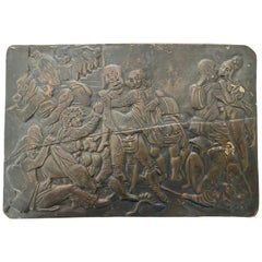 Erotic Copper Repoussé Relief of an Orgy with French Soldiers, Mid- 19th Century