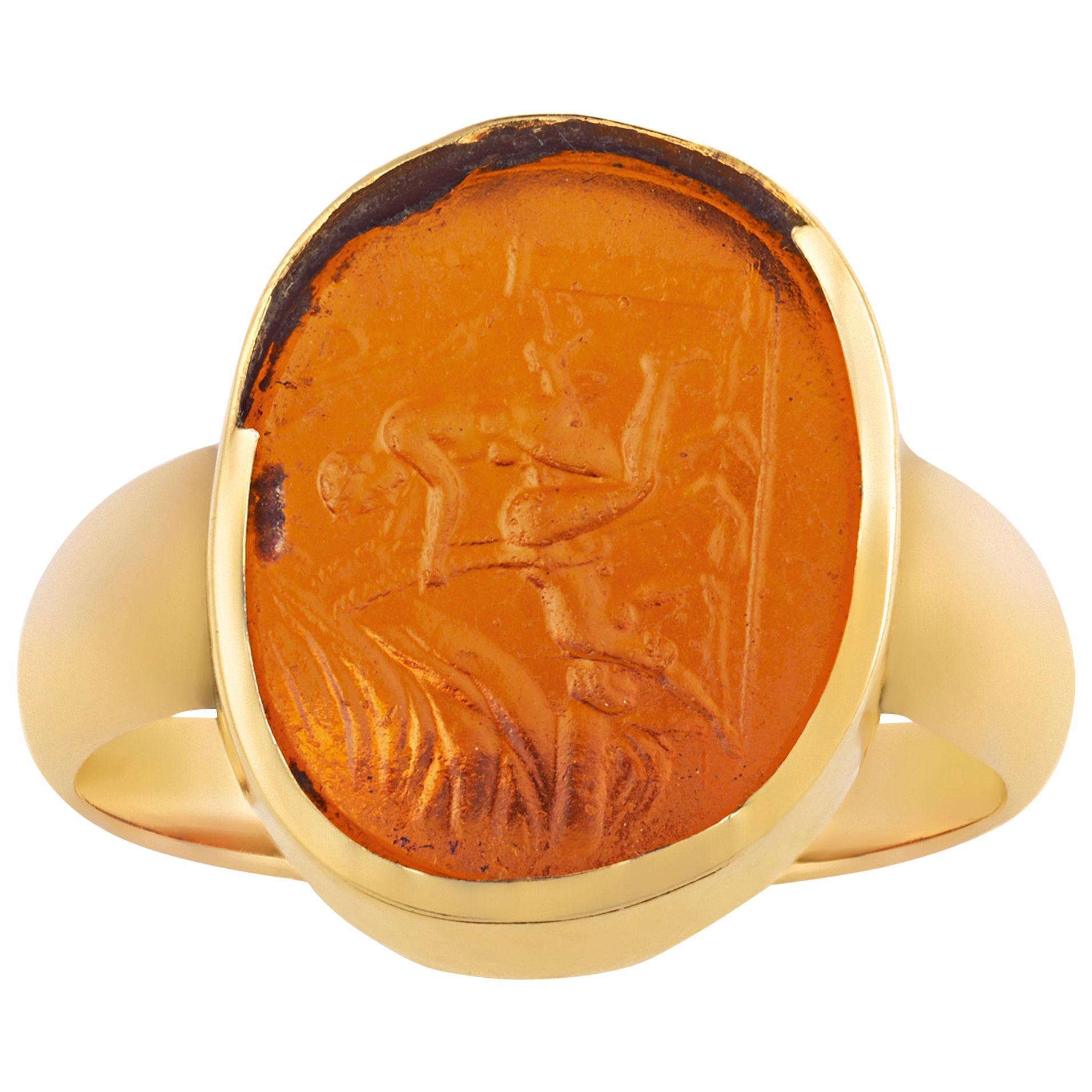Erotic Intaglio Glass Ring