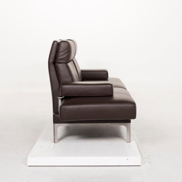 Erpo Avantgarde Av 400 Leather Sofa Brown Three Seat Function Relax Function At 1stdibs