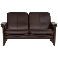 Erpo City Leather Sofa Brown Dark Brown Two-Seat Couch