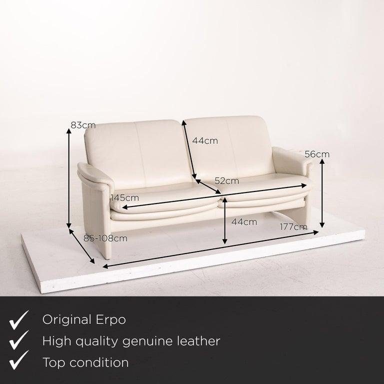We present to you an Erpo City leather sofa cream two-seat couch.     Product measurements in centimeters:    Depth 85 Width 177 Height 83 Seat height 44 Rest height 56 Seat depth 52 Seat width 145 Back height 44.