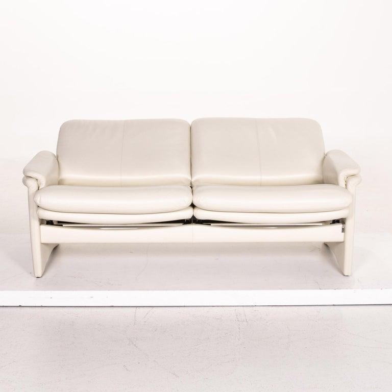 Modern Erpo City Leather Sofa Cream Two-Seat Couch For Sale