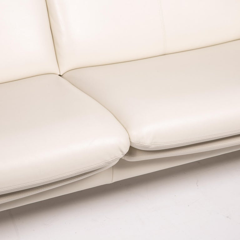German Erpo City Leather Sofa Cream Two-Seat Couch For Sale