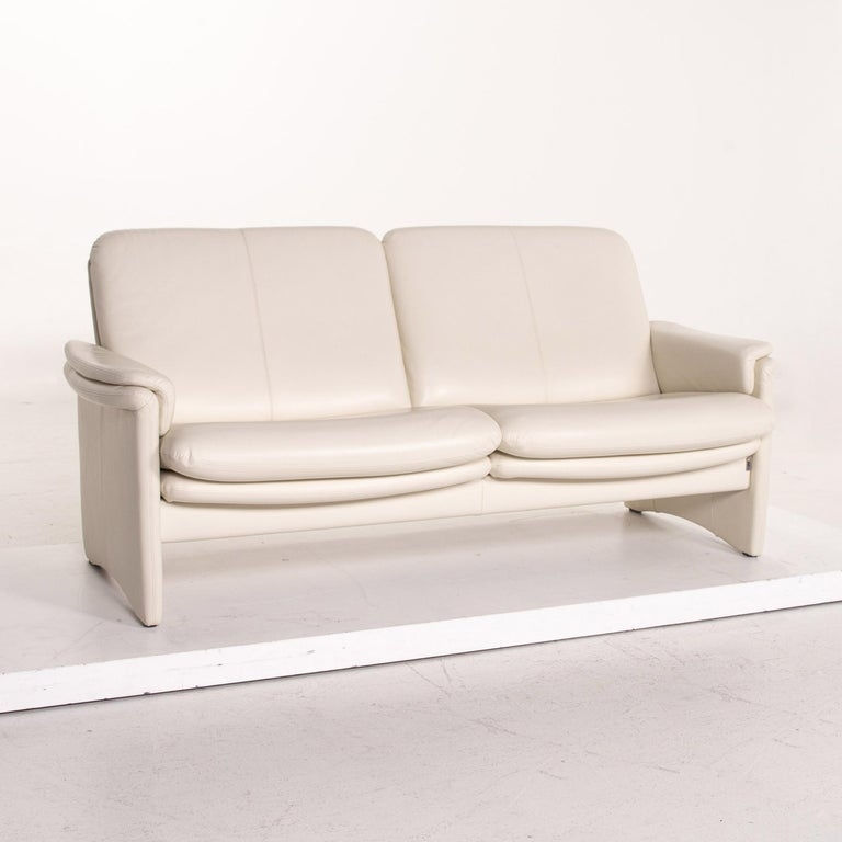 Erpo City Leather Sofa Cream Two-Seat Couch For Sale 1