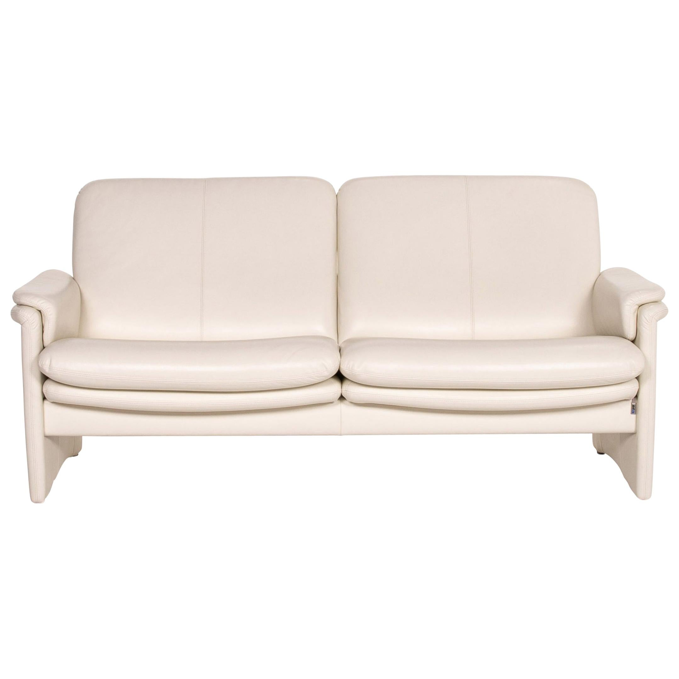 Erpo City Leather Sofa Cream Two-Seat Couch