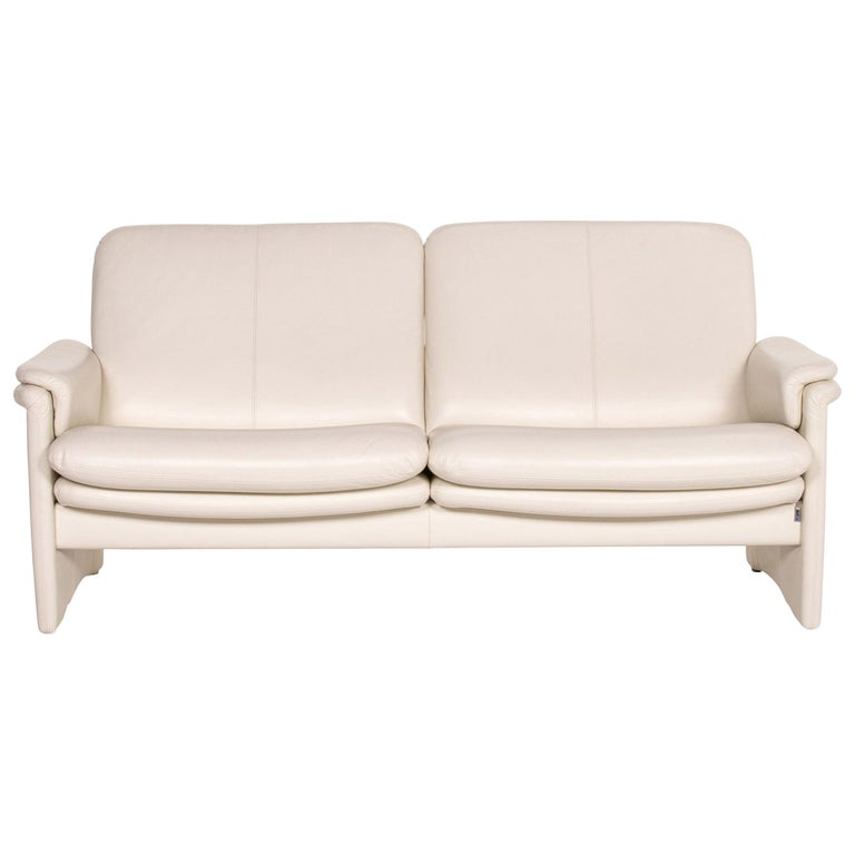 Erpo City Leather Sofa Cream Two-Seat Couch For Sale