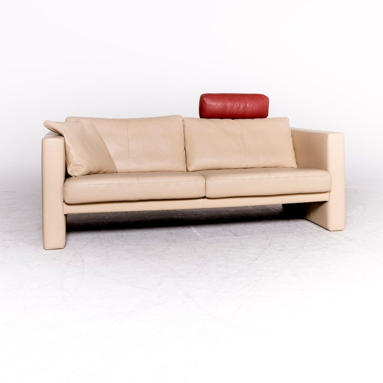 Pleasant Erpo Cl 100 Designer Leather Sofa Beige Genuine Leather Three Seat Couch Pabps2019 Chair Design Images Pabps2019Com