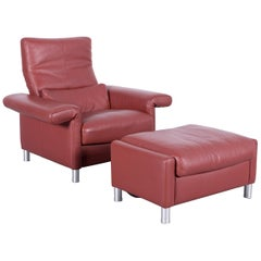 Erpo Designer Leather Armchair Set with Foot-Stool Brown One-Seat