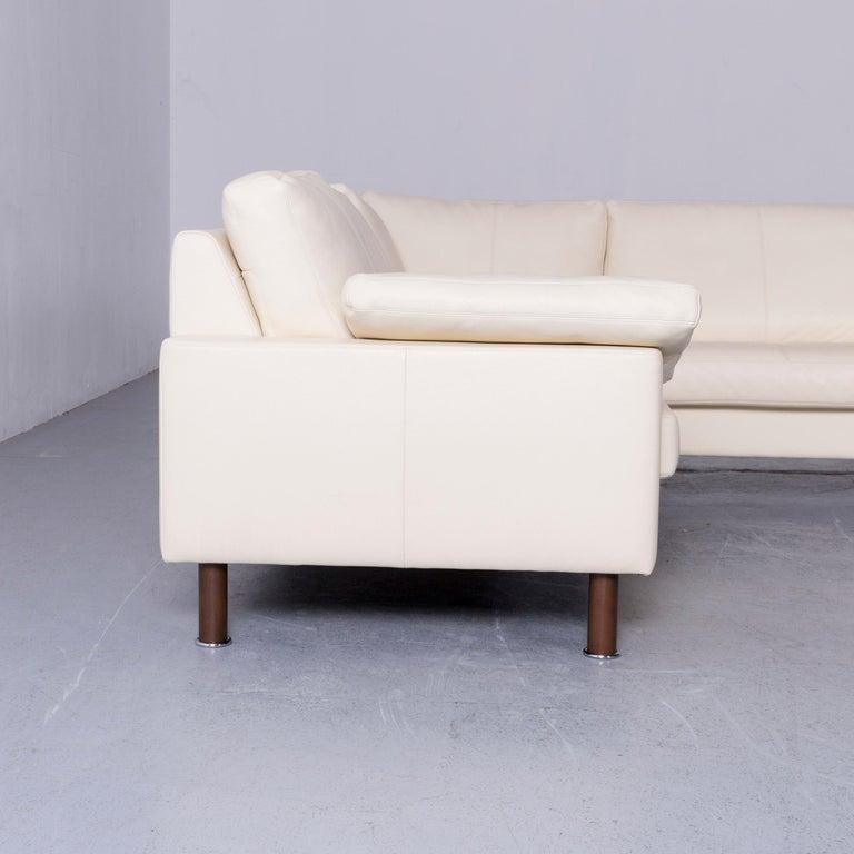 Erpo Designer Sofa Leather Crème Corner-Sofa Couch 5