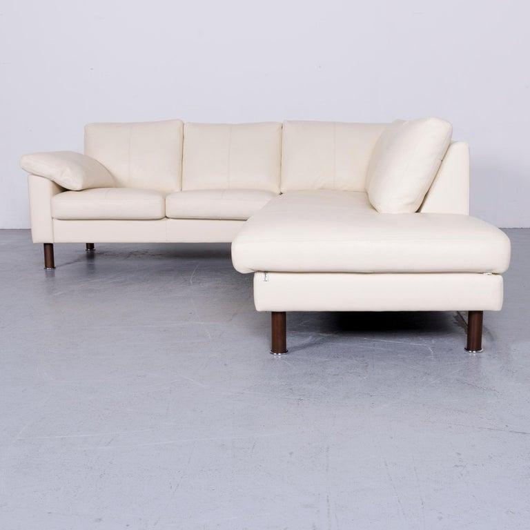 Erpo Designer Sofa Leather Crème Corner-Sofa Couch 7
