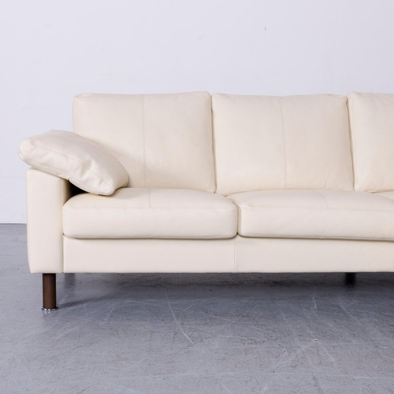 German Erpo Designer Sofa Leather Crème Corner-Sofa Couch