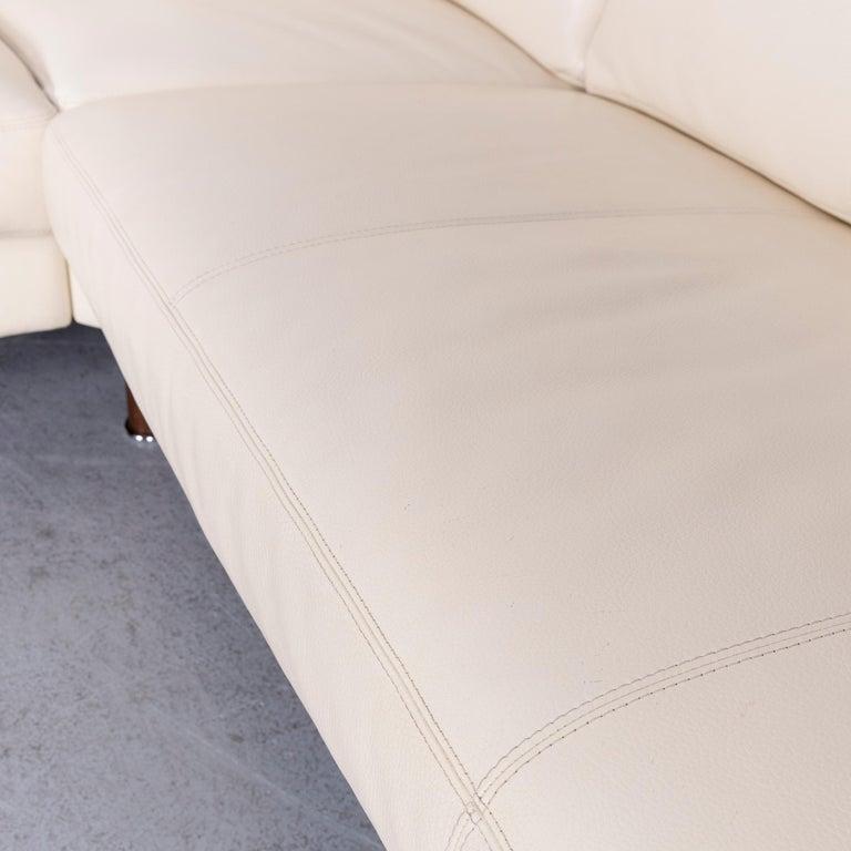 Contemporary Erpo Designer Sofa Leather Crème Corner-Sofa Couch