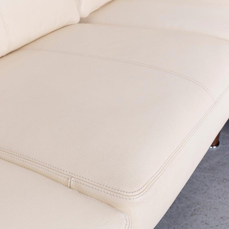 Erpo Designer Sofa Leather Crème Corner-Sofa Couch 1