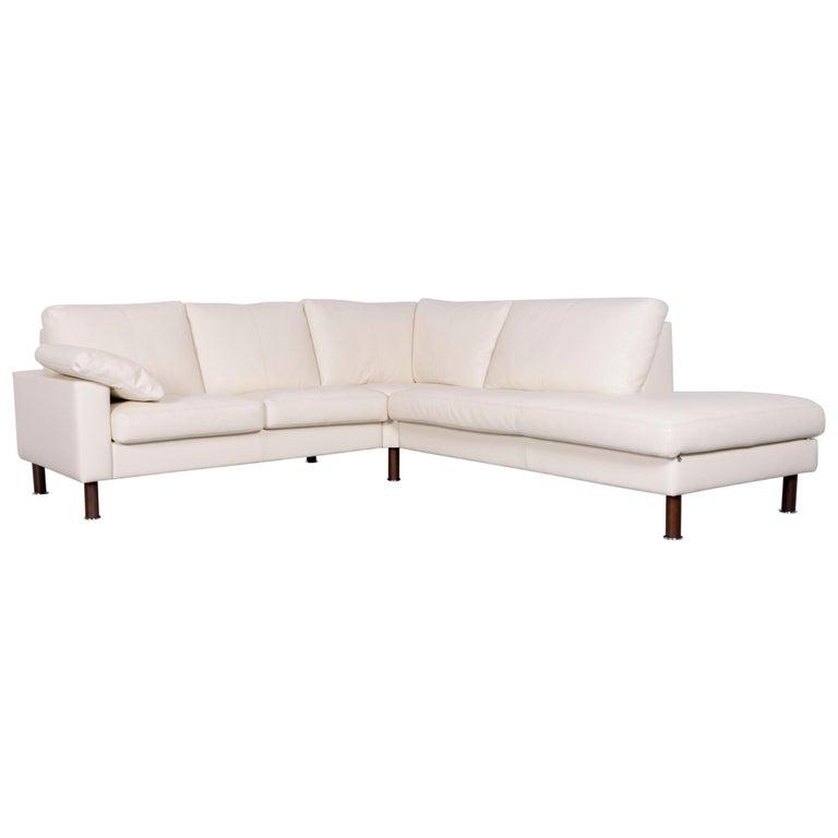 Erpo Designer Sofa Leather Crème Corner-Sofa Couch