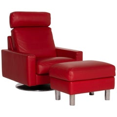 Erpo Leather Armchair Incl. Stool Red