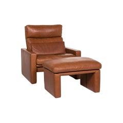 Erpo Leather Armchair Set Cognac Brown 1 Armchair 1 Stool
