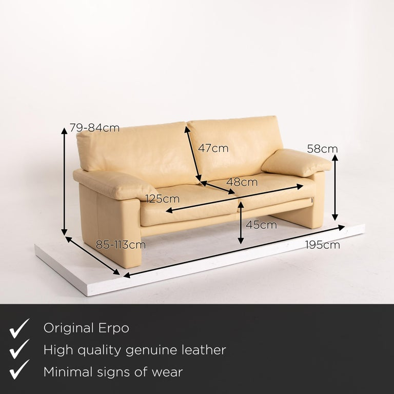 We present to you an Erpo leather sofa beige two-seat couch.