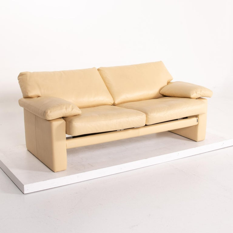 Modern Erpo Leather Sofa Beige Two-Seat Couch