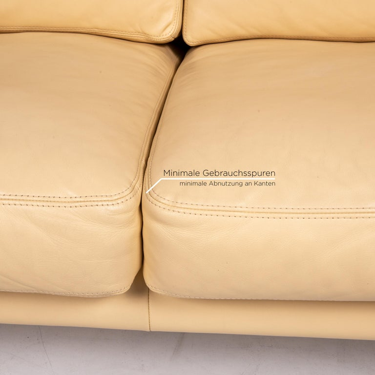 Erpo Leather Sofa Beige Two-Seat Couch In Good Condition In Cologne, DE